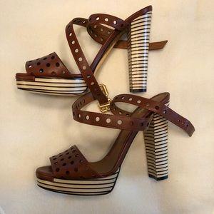 Fendi Sandal Sandalo Vacchetta Forata Cuoio 38.5